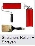 Pinsel, Rolle und Spraydose